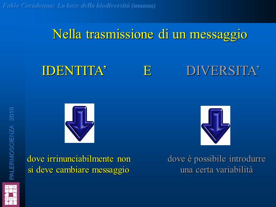 Nella trasmissione di un messaggio dove irrinunciabilmente non si deve cambiare messaggio dove è possibile introdurre una certa variabilità IDENTITA'