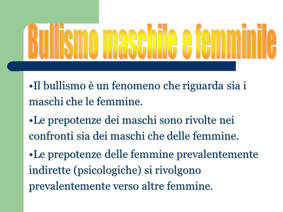 Il bullismo è un fenomeno che riguarda sia i maschi che le femmine.Il bullismo è un fenomeno che riguarda sia i maschi che le femmine. Le prepotenze d