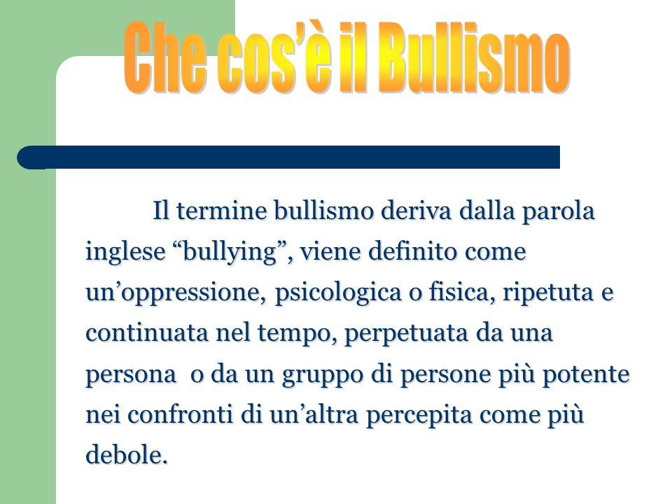 """Il termine bullismo deriva dalla parola inglese """"bullying"""", viene definito come un'oppressione, psicologica o fisica, ripetuta e continuata nel tempo,"""