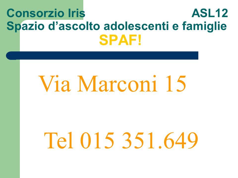 Consorzio Iris ASL12 Spazio d'ascolto adolescenti e famiglie SPAF! Via Marconi 15 Tel 015 351.649