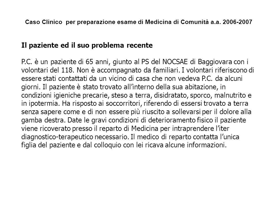 Caso Clinico per preparazione esame di Medicina di Comunità a.a. 2006-2007 Il paziente ed il suo problema recente P.C. è un paziente di 65 anni, giunt