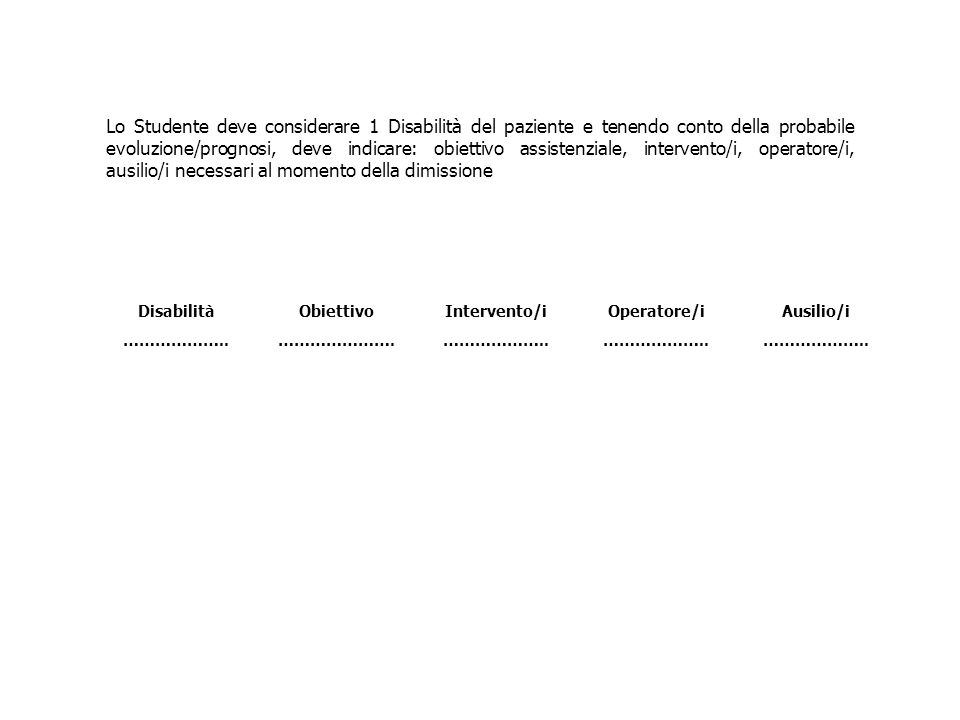 Lo Studente deve considerare 1 Disabilità del paziente e tenendo conto della probabile evoluzione/prognosi, deve indicare: obiettivo assistenziale, in
