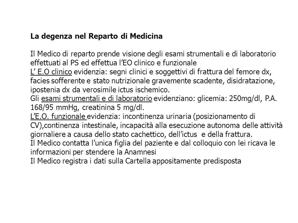 La degenza nel Reparto di Medicina Il Medico di reparto prende visione degli esami strumentali e di laboratorio effettuati al PS ed effettua l'EO clin