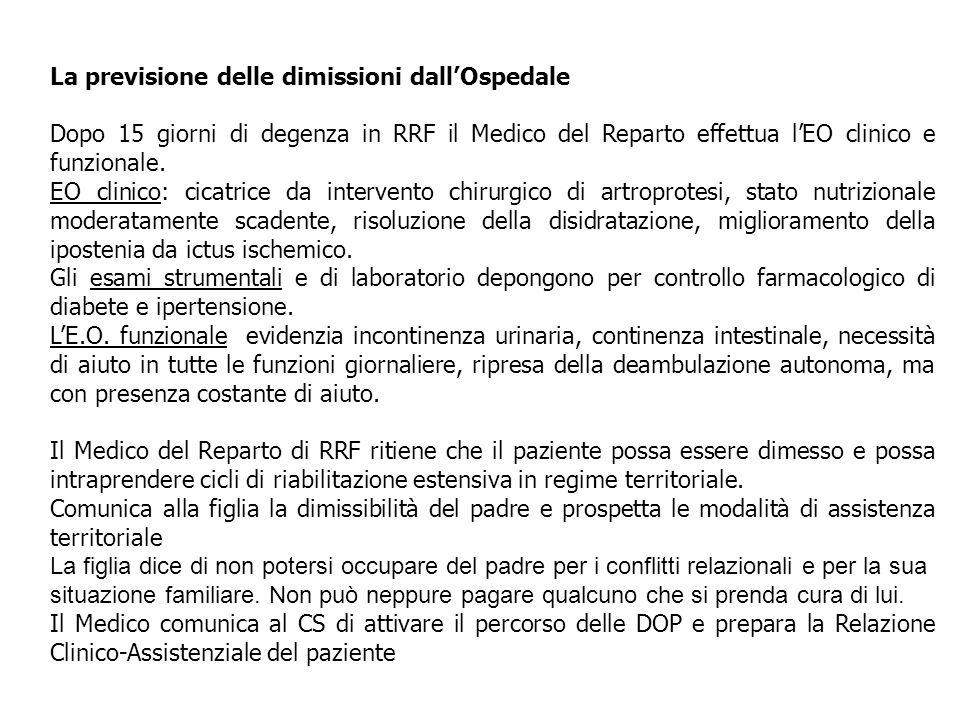 La previsione delle dimissioni dall'Ospedale Dopo 15 giorni di degenza in RRF il Medico del Reparto effettua l'EO clinico e funzionale. EO clinico: ci