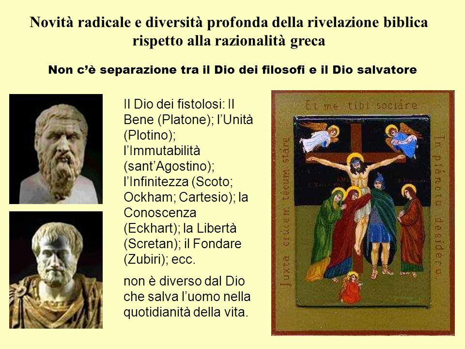 Novità radicale e diversità profonda della rivelazione biblica rispetto alla razionalità greca Non c'è separazione tra il Dio dei filosofi e il Dio sa