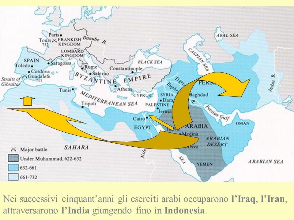 Nei successivi cinquant'anni gli eserciti arabi occuparono l'Iraq, l'Iran, attraversarono l'India giungendo fino in Indonesia.
