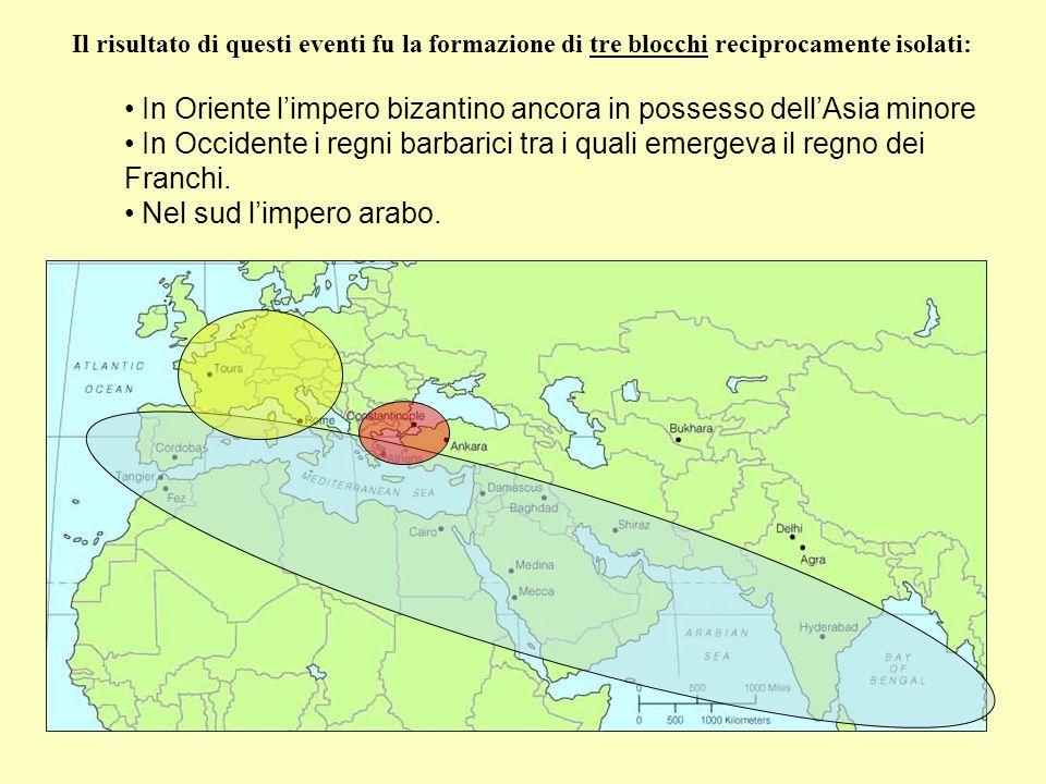 Il risultato di questi eventi fu la formazione di tre blocchi reciprocamente isolati: In Oriente l'impero bizantino ancora in possesso dell'Asia minor