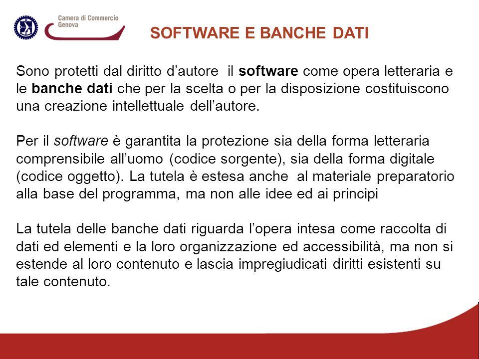 SOFTWARE E BANCHE DATI Sono protetti dal diritto d'autore il software come opera letteraria e le banche dati che per la scelta o per la disposizione c