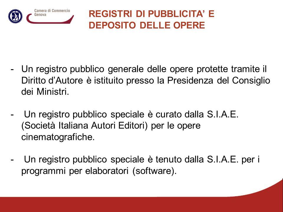REGISTRI DI PUBBLICITA' E DEPOSITO DELLE OPERE -Un registro pubblico generale delle opere protette tramite il Diritto d'Autore è istituito presso la P