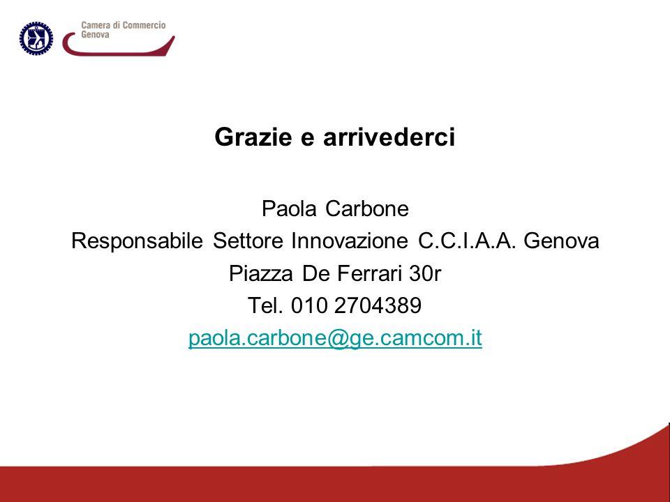 Grazie e arrivederci Paola Carbone Responsabile Settore Innovazione C.C.I.A.A. Genova Piazza De Ferrari 30r Tel. 010 2704389 paola.carbone@ge.camcom.i