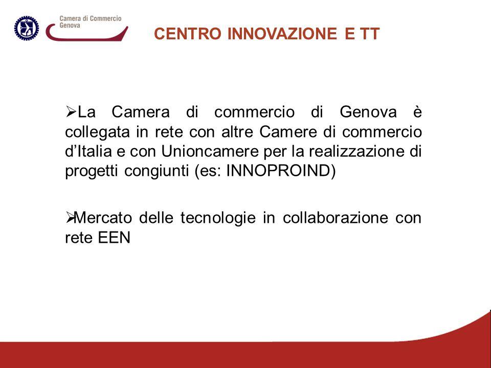 CENTRO INNOVAZIONE E TT  La Camera di commercio di Genova è collegata in rete con altre Camere di commercio d'Italia e con Unioncamere per la realizz