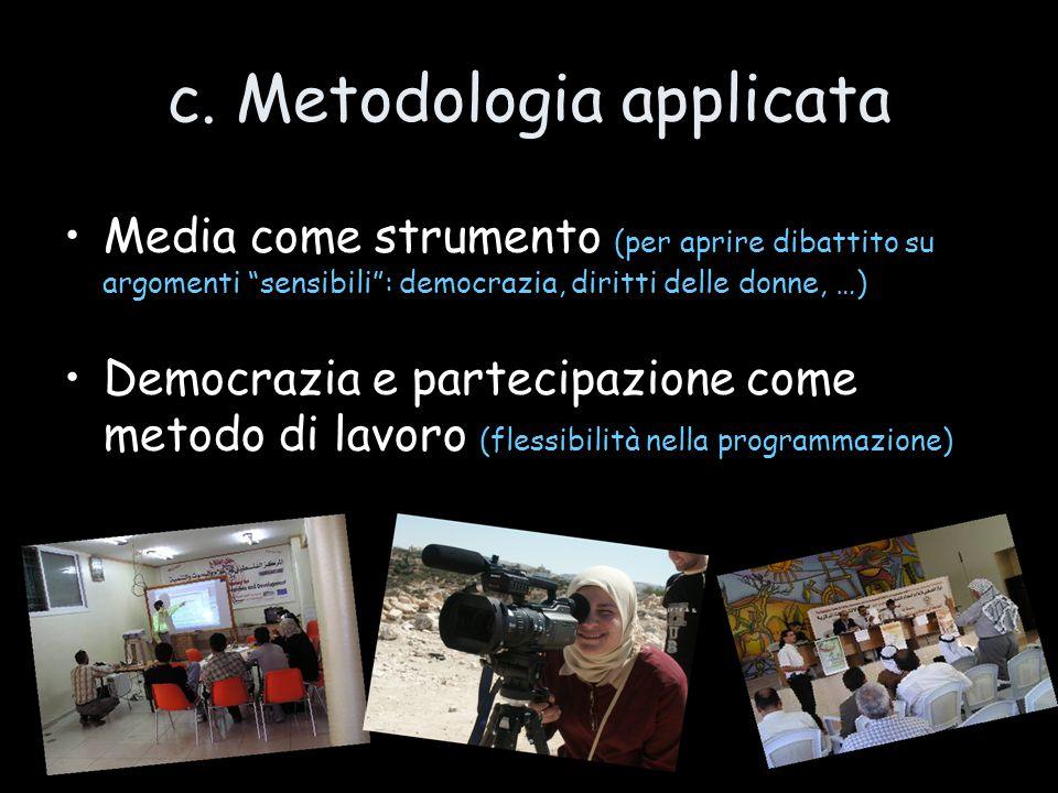 """c. Metodologia applicata Media come strumento (per aprire dibattito su argomenti """"sensibili"""": democrazia, diritti delle donne, …)  Democrazia e parte"""