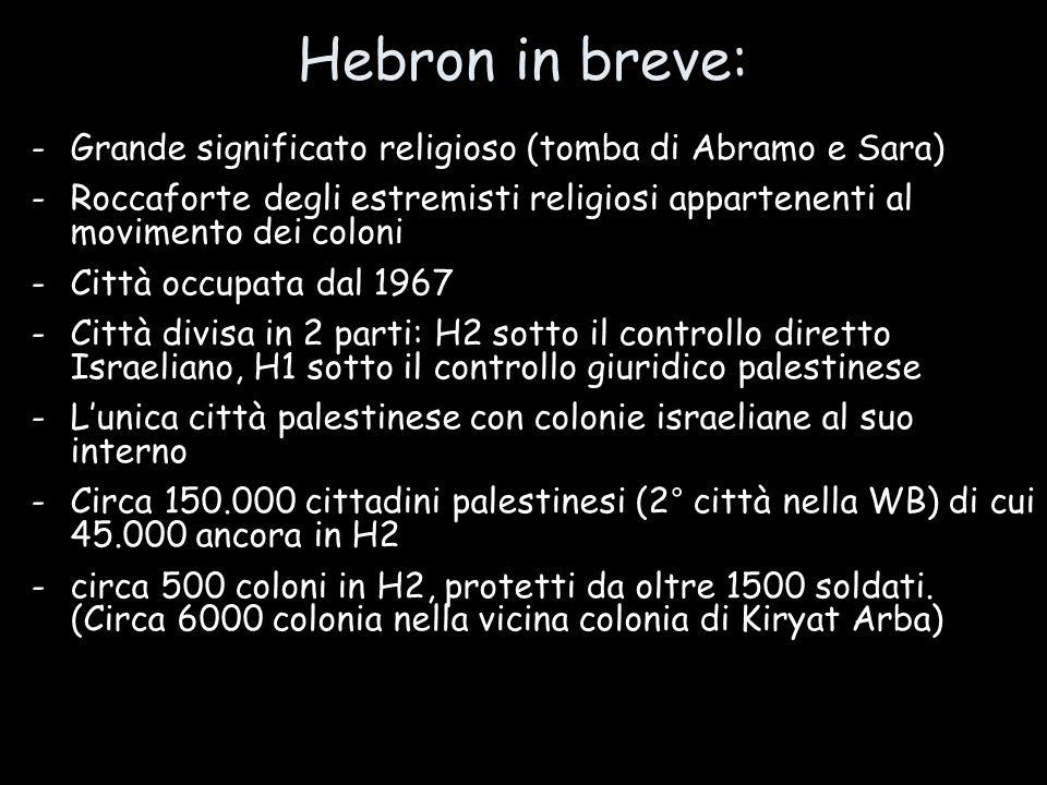 -Grande significato religioso (tomba di Abramo e Sara)  -Roccaforte degli estremisti religiosi appartenenti al movimento dei coloni -Città occupata d