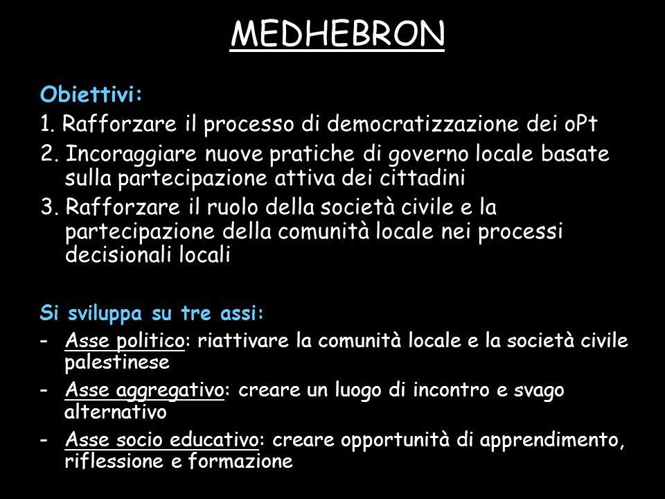 MEDHEBRON Obiettivi: 1. Rafforzare il processo di democratizzazione dei oPt 2. Incoraggiare nuove pratiche di governo locale basate sulla partecipazio