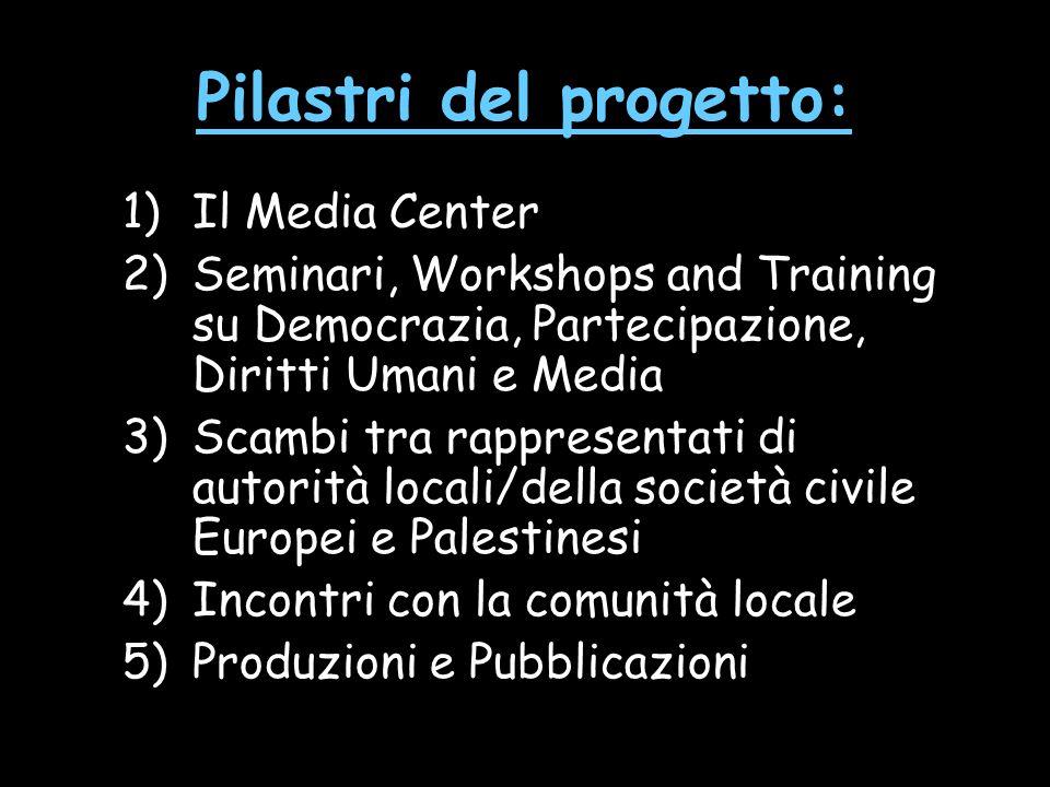 Pilastri del progetto: 1)Il Media Center 2)Seminari, Workshops and Training su Democrazia, Partecipazione, Diritti Umani e Media 3)Scambi tra rapprese