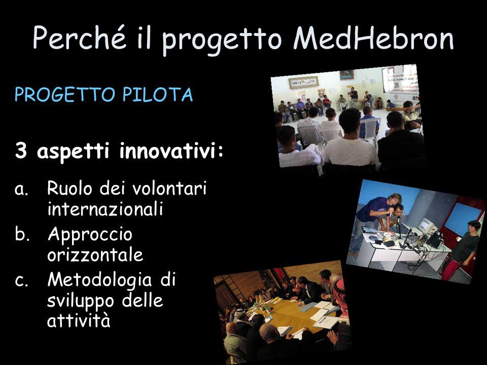 Perché il progetto MedHebron PROGETTO PILOTA 3 aspetti innovativi: a.Ruolo dei volontari internazionali b.Approccio orizzontale c.Metodologia di svilu