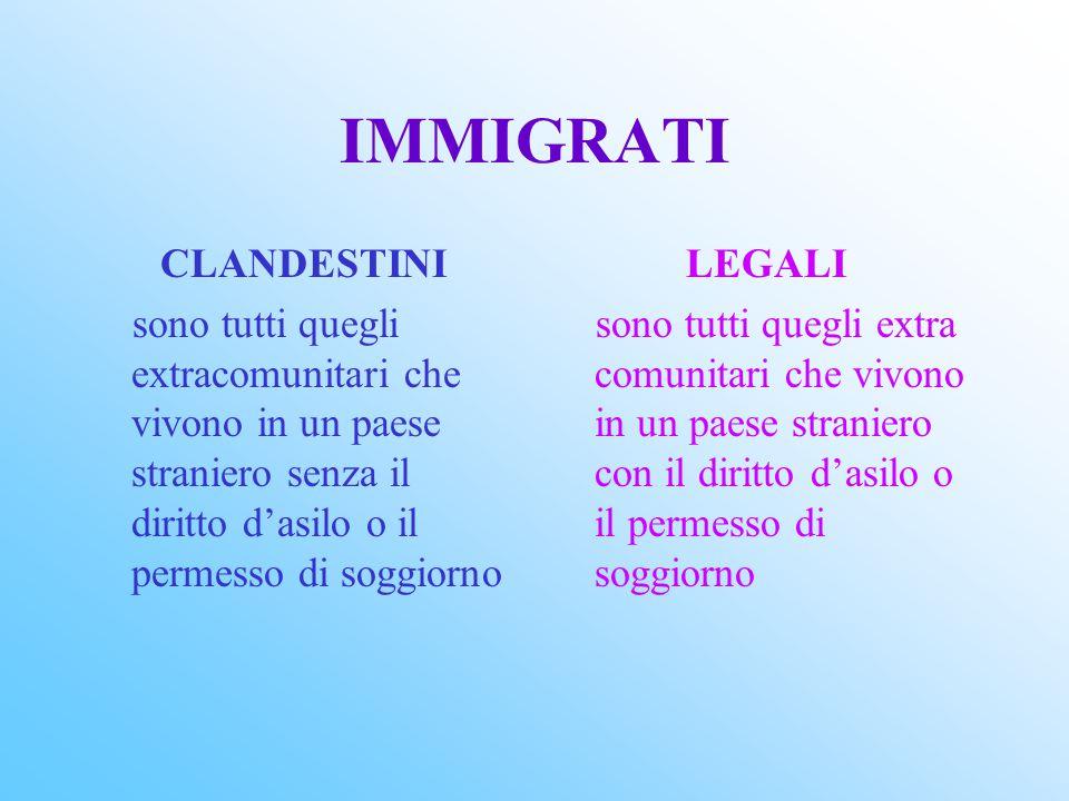 LA LEGGE ITALIANA DEL 1998 SULL'IMMIGRAZIONE INTENDE SALVAGUARDARE GLI IMMIGRATI ONESTI E DISPOSTI AL LAVORO, PENALIZZANDO QUELLI CHE MIRANO ALLA CLAN