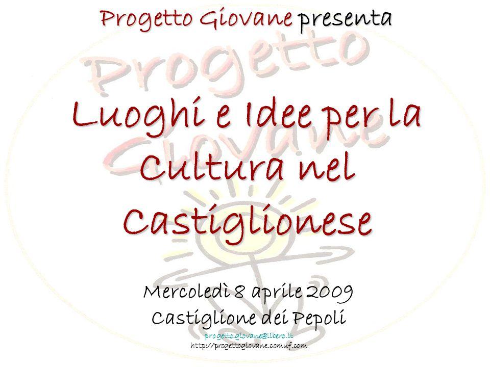 Progetto Giovane presenta Luoghi e Idee per la Cultura nel Castiglionese Mercoledì 8 aprile 2009 Castiglione dei Pepoli progetto.giovane@libero.it http://progettogiovane.comuf.com