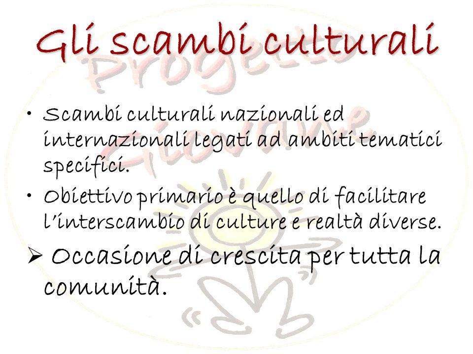 Gli scambi culturali Scambi culturali nazionali ed internazionali legati ad ambiti tematici specifici.