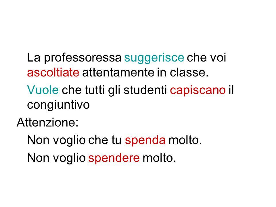 La professoressa suggerisce che voi ascoltiate attentamente in classe. Vuole che tutti gli studenti capiscano il congiuntivo Attenzione: Non voglio ch