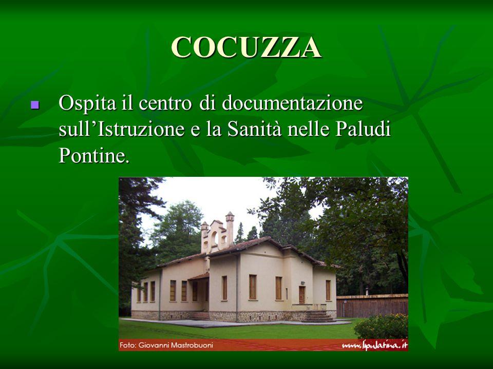 COCUZZA Ospita il centro di documentazione sull'Istruzione e la Sanità nelle Paludi Pontine. Ospita il centro di documentazione sull'Istruzione e la S