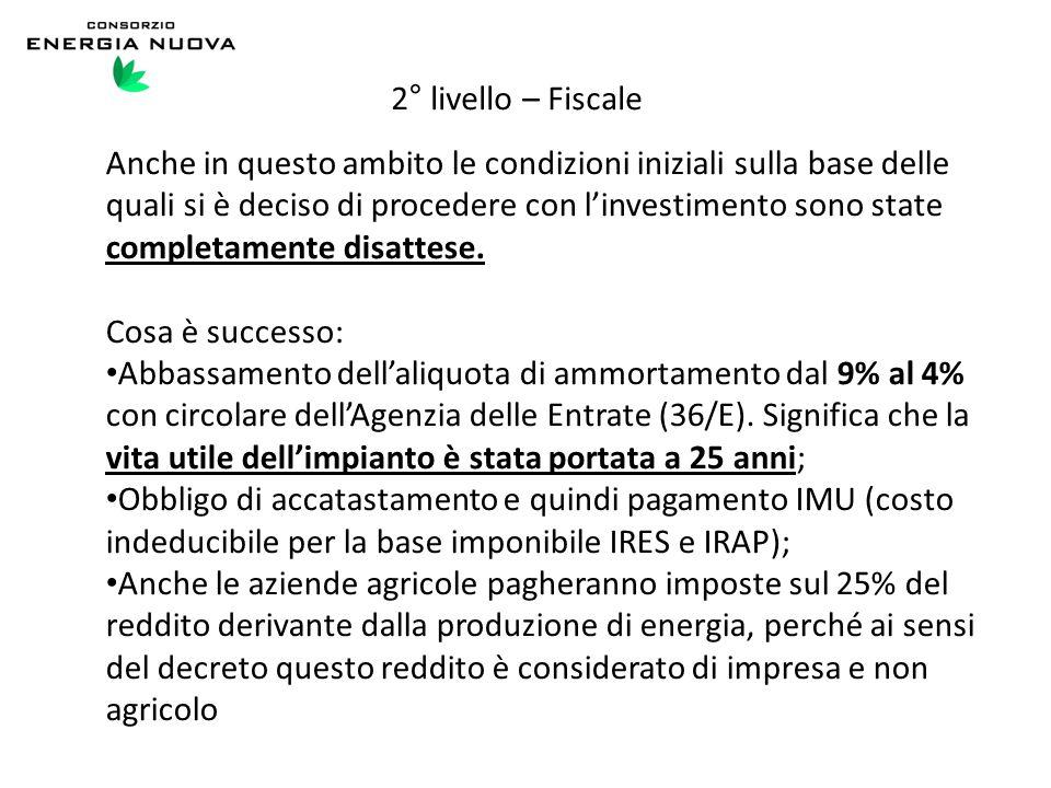 2° livello – Fiscale Anche in questo ambito le condizioni iniziali sulla base delle quali si è deciso di procedere con l'investimento sono state compl