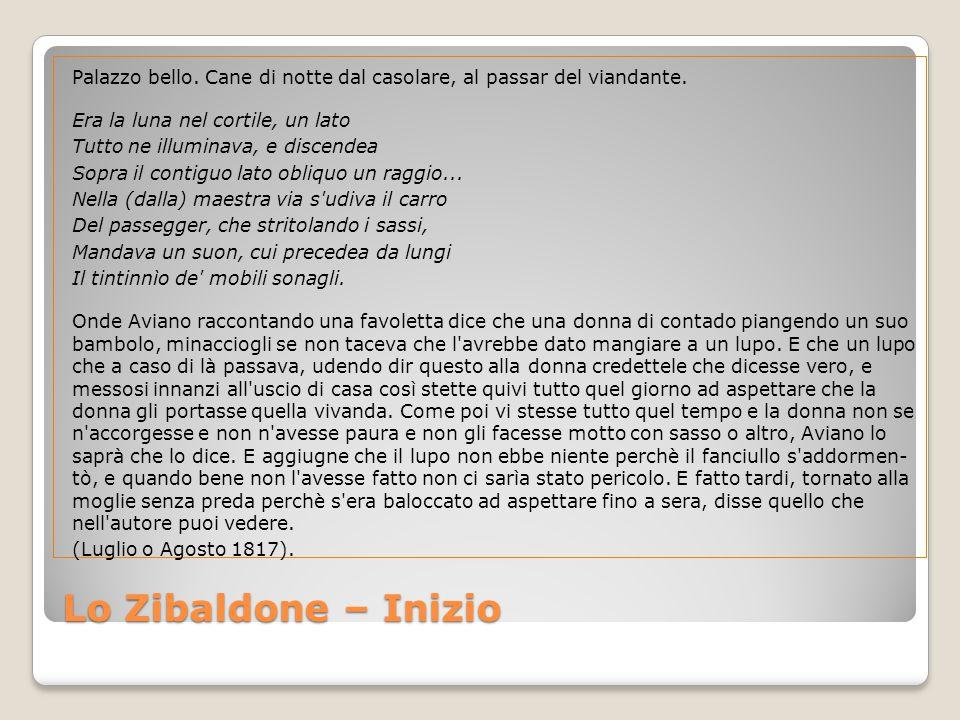 Lo Zibaldone – Inizio Palazzo bello.Cane di notte dal casolare, al passar del viandante.