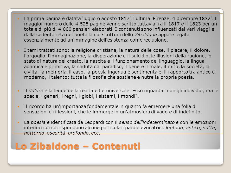 Lo Zibaldone – Contenuti La prima pagina è datata 'luglio o agosto 1817', l ultima 'Firenze, 4 dicembre 1832'.