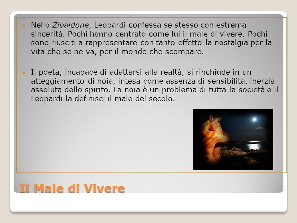 Il Male di Vivere Nello Zibaldone, Leopardi confessa se stesso con estrema sincerità.
