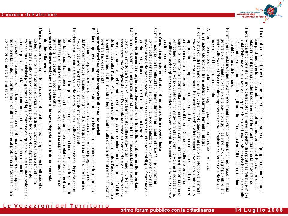 primo forum pubblico con la cittadinanza 1 4 L u g l i o 2 0 0 6 C o m u n e d i F a b r i a n o L e V o c a z i o n i d e l T e r r i t o r i o Il lavoro di analisi e di investigazione progettuale dell'area tematica progetto urbano ha come campo di indagine tutta l'area urbanizzata del territorio comunale di Fabriano e le suerelazioni con il paesaggio che la contiene e con le infrastrutture che la attraversano.