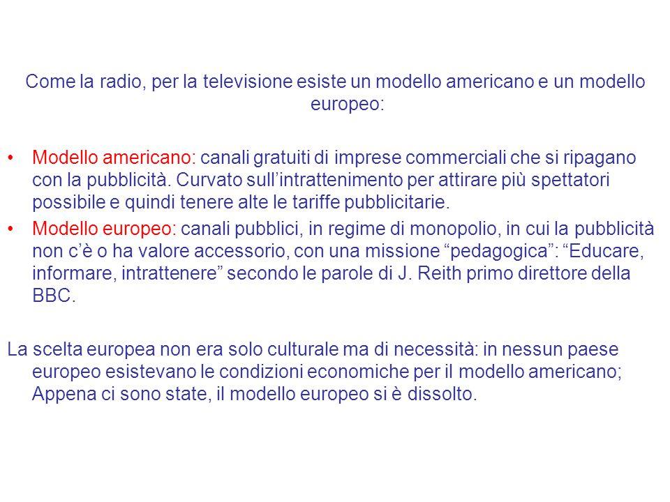 Come la radio, per la televisione esiste un modello americano e un modello europeo: Modello americano: canali gratuiti di imprese commerciali che si ripagano con la pubblicità.