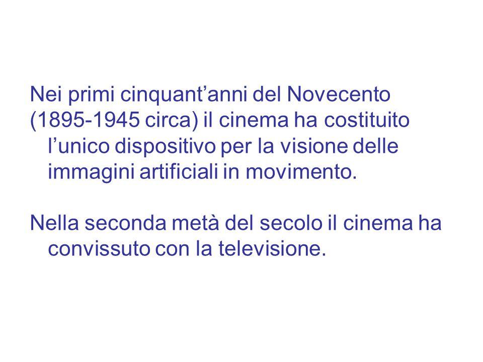Nei primi cinquant'anni del Novecento (1895-1945 circa) il cinema ha costituito l'unico dispositivo per la visione delle immagini artificiali in movimento.