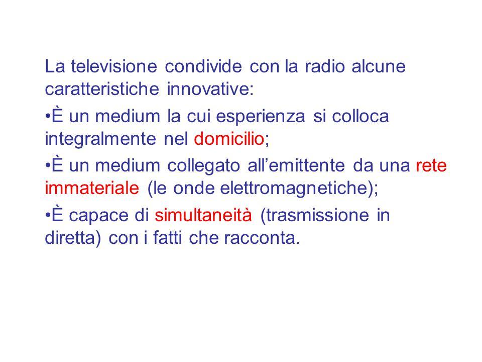 La televisione condivide con la radio alcune caratteristiche innovative: È un medium la cui esperienza si colloca integralmente nel domicilio; È un medium collegato all'emittente da una rete immateriale (le onde elettromagnetiche); È capace di simultaneità (trasmissione in diretta) con i fatti che racconta.