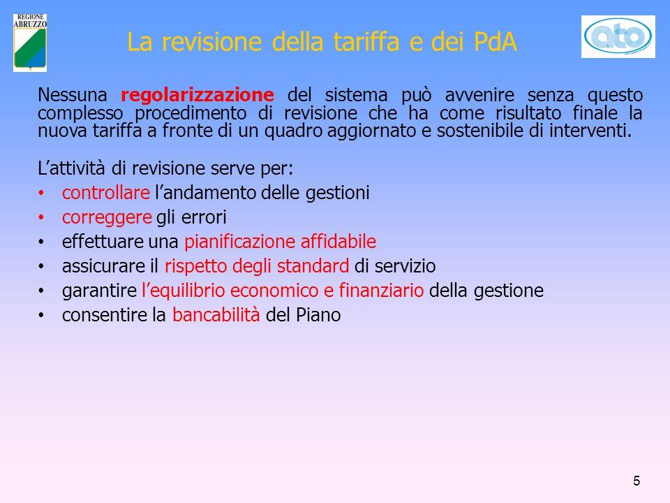 La revisione della tariffa e dei PdA L'attività di revisione serve per: controllare l'andamento delle gestioni correggere gli errori effettuare una pi