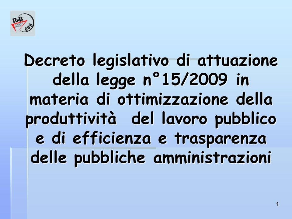 1 Decreto legislativo di attuazione della legge n°15/2009 in materia di ottimizzazione della produttività del lavoro pubblico e di efficienza e trasparenza delle pubbliche amministrazioni