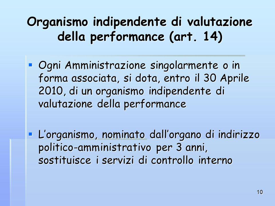 10 Organismo indipendente di valutazione della performance (art.