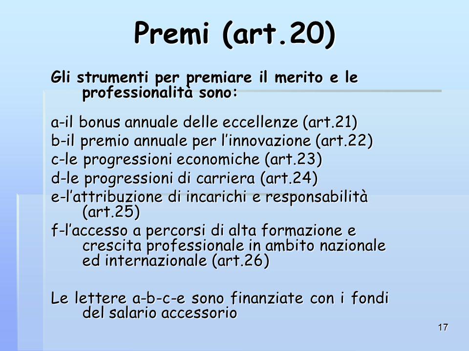 17 Premi (art.20) Gli strumenti per premiare il merito e le professionalità sono: a-il bonus annuale delle eccellenze (art.21) b-il premio annuale per l'innovazione (art.22) c-le progressioni economiche (art.23) d-le progressioni di carriera (art.24) e-l'attribuzione di incarichi e responsabilità (art.25) f-l'accesso a percorsi di alta formazione e crescita professionale in ambito nazionale ed internazionale (art.26) Le lettere a-b-c-e sono finanziate con i fondi del salario accessorio