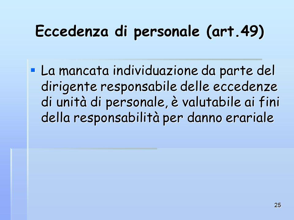 25 Eccedenza di personale (art.49)  La mancata individuazione da parte del dirigente responsabile delle eccedenze di unità di personale, è valutabile ai fini della responsabilità per danno erariale