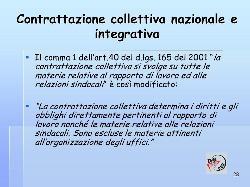 28 Contrattazione collettiva nazionale e integrativa   Il comma 1 dell'art.40 del d.lgs.