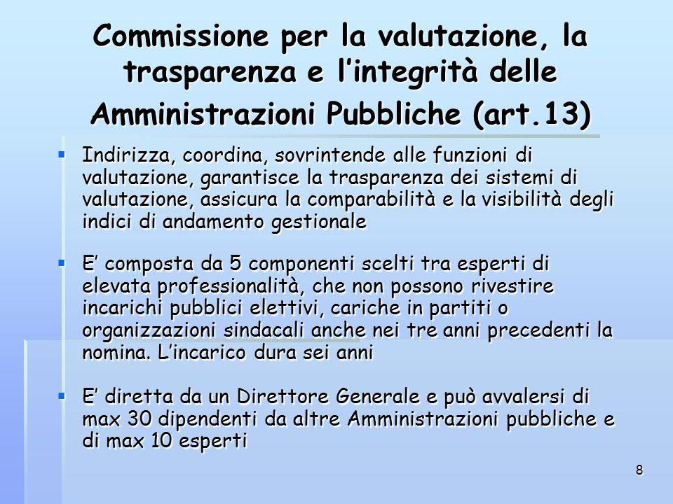 8 Commissione per la valutazione, la trasparenza e l'integrità delle Amministrazioni Pubbliche (art.13)  Indirizza, coordina, sovrintende alle funzioni di valutazione, garantisce la trasparenza dei sistemi di valutazione, assicura la comparabilità e la visibilità degli indici di andamento gestionale  E' composta da 5 componenti scelti tra esperti di elevata professionalità, che non possono rivestire incarichi pubblici elettivi, cariche in partiti o organizzazioni sindacali anche nei tre anni precedenti la nomina.