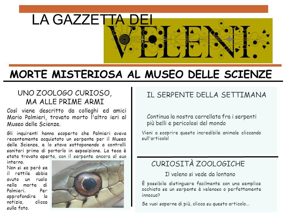 UNO ZOOLOGO CURIOSO, MA ALLE PRIME ARMI Così viene descritto da colleghi ed amici Mario Palmieri, trovato morto l'altro ieri al Museo delle Scienze. G