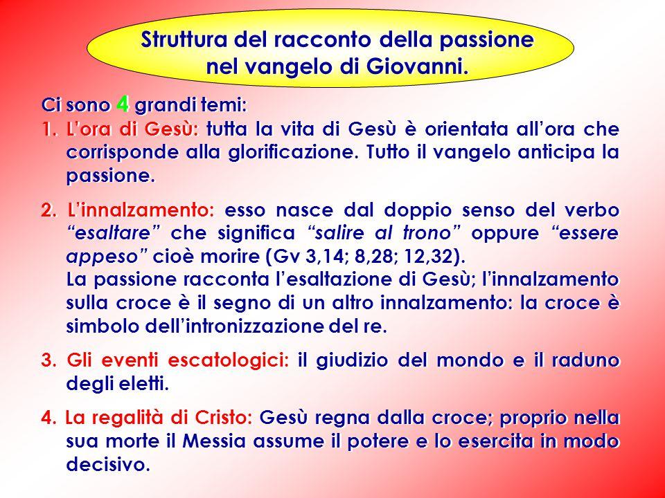 La struttura del racconto della passione è concentrica; vi sono cinque blocchi distinti: 1) 18,1-11Gesù arrestato nell'orto.