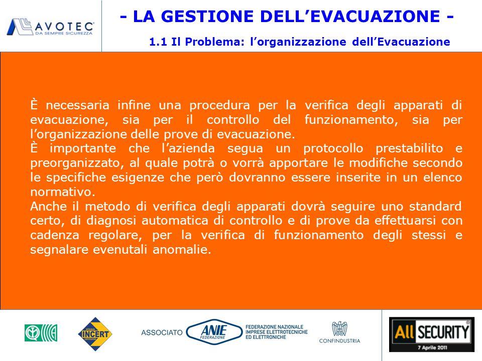 È necessaria infine una procedura per la verifica degli apparati di evacuazione, sia per il controllo del funzionamento, sia per l'organizzazione delle prove di evacuazione.