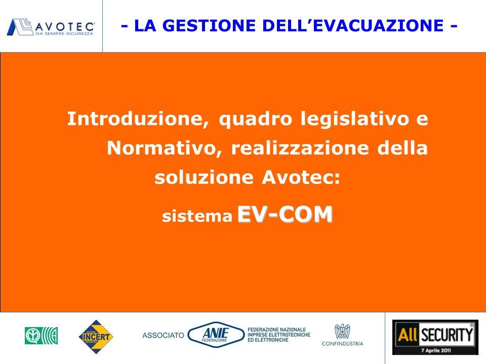 Introduzione, quadro legislativo e Normativo, realizzazione della soluzione Avotec: EV-COM sistema EV-COM - LA GESTIONE DELL'EVACUAZIONE -