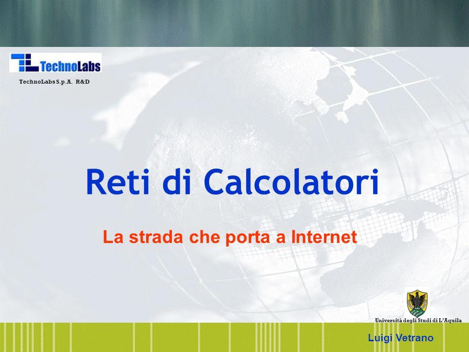 Luigi Vetrano 22 Backbone: National ISP Local/Regional ISP Local/Regional ISP Internet: Infrastruttura F Residential Access u Modem u DSL u Cable modem F Access to ISP, Backbone transmission u T1/T3, OC-3, OC-12 u ATM, SONET, WDM F Internet Service Providers u Local/Regional/National u They exchange packets at Point of Presence (POP) F Campus network access u Ethernet u FDDI u Wireless TL LAN-AQ TL LAN-MI