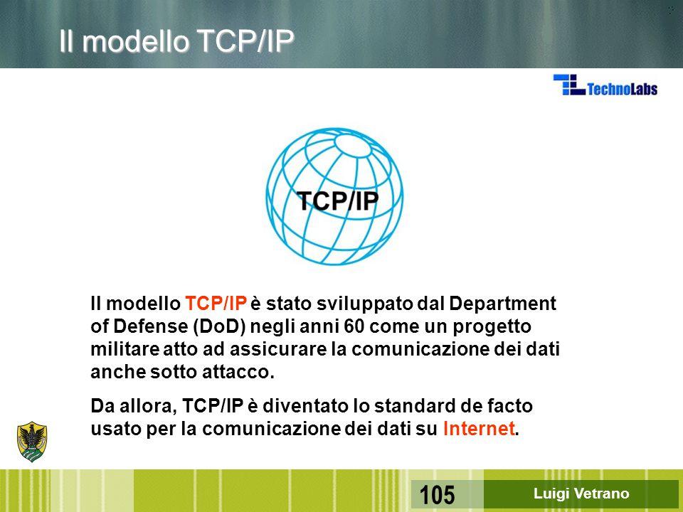 Luigi Vetrano 105 Il modello TCP/IP è stato sviluppato dal Department of Defense (DoD) negli anni 60 come un progetto militare atto ad assicurare la c