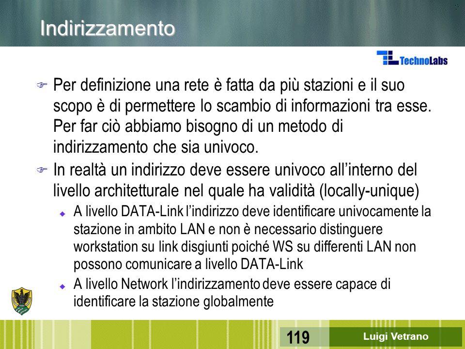 Luigi Vetrano 119 Indirizzamento F Per definizione una rete è fatta da più stazioni e il suo scopo è di permettere lo scambio di informazioni tra esse