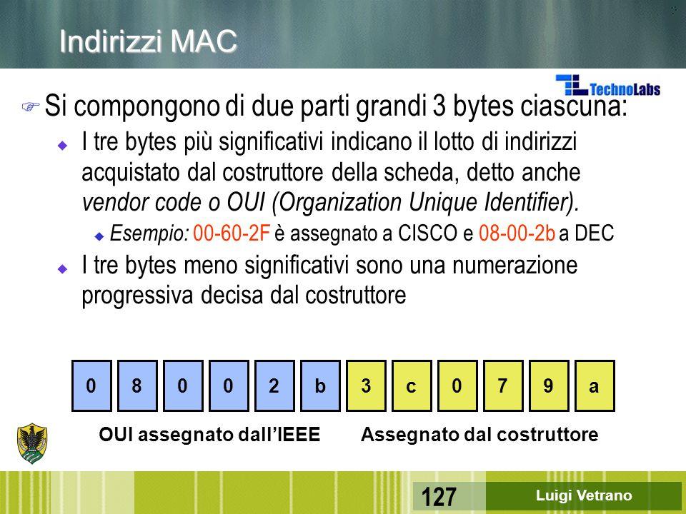Luigi Vetrano 127 Indirizzi MAC F Si compongono di due parti grandi 3 bytes ciascuna: u I tre bytes più significativi indicano il lotto di indirizzi a