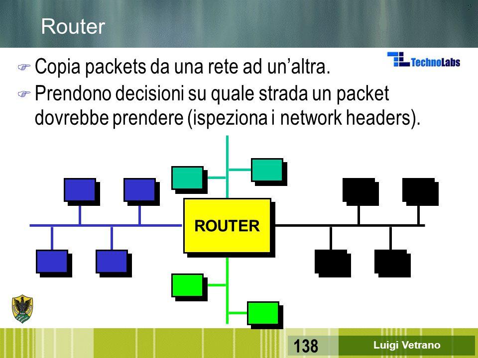 Luigi Vetrano 138 Router F Copia packets da una rete ad un'altra. F Prendono decisioni su quale strada un packet dovrebbe prendere (ispeziona i networ
