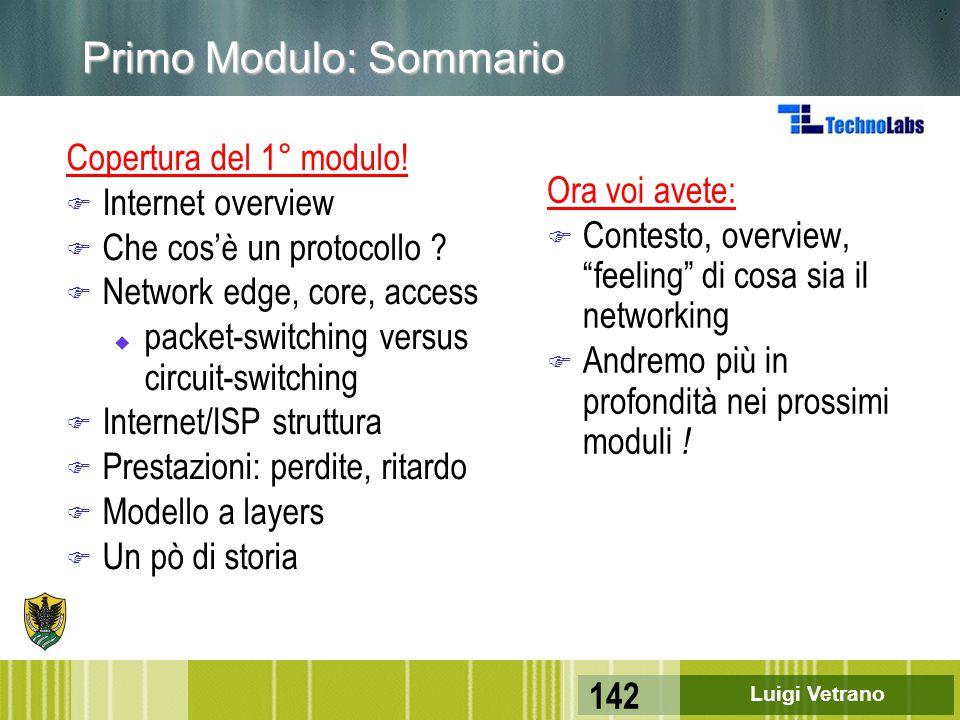 Luigi Vetrano 142 Primo Modulo: Sommario Copertura del 1° modulo! F Internet overview F Che cos'è un protocollo ? F Network edge, core, access u packe